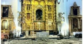 Fotos de La Iglesia de San Francisco del @pasoazul dañada por el terremoto de Lorca y fotos una vez restaurada.